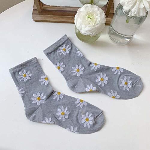 CYMTZ 5 Par/Paquete De Calcetines De Tul con Flores De Moda para Mujer Calcetines De Malla con Margaritas Calcetines Finos De Gasa Transparentes con Flores, Gris