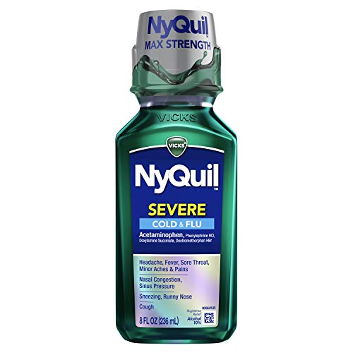 Vicks NyQuil SEVERE Cough, Cold and Flu, Original Flavor, 8 Fl oz - Sore Throat, Fever, and Congestion Nighttime Relief