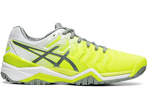 ASICS Women's Gel-Resolution 7 Tennis Shoes, 7.5M, Safety Yellow/Stone Grey