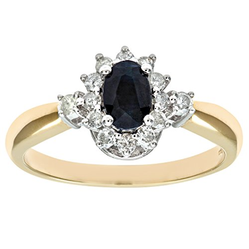 Naava 9 ct Yellow Gold Diamond and Sapphire Cluster Women's Ring