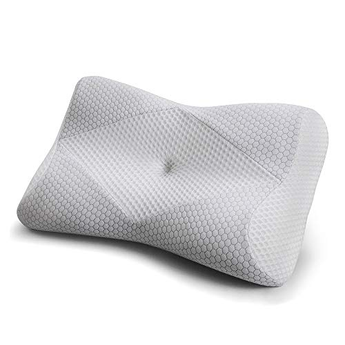Mkicesky Memory Foam Neck Pillow for Sleeping, Side Sleeper Cervical Contour Pillow for Side/Back/Stomach Sleeper, Ergonomic Orthopedic Bed Pillow Relief Neck & Shoulder Pain - Gray