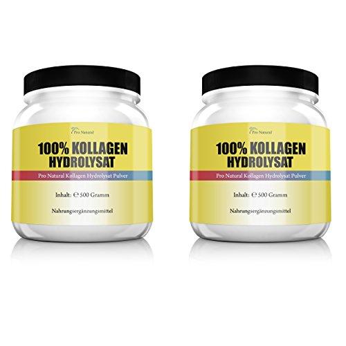Pro Natural Kollagen Hydrolysat Collagen für die Gelenke & Knorpel 2er Pack (2 x 500 g) Dosen (Collagen Protein Pulver)