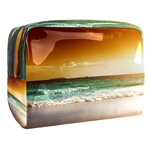 Bolsas de Maquillaje Estuche multifunción para Organizador de Bolsas de cosméticos de Viaje portátil Puesta de Sol en la Playa de Seychelles con Neceser con Cremallera para Mujer