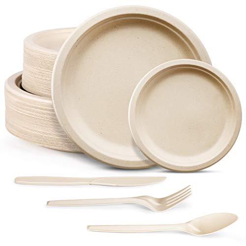 250pcs Compostable Paper Plates Set, Biodegradable Plates Heavy-Duty...