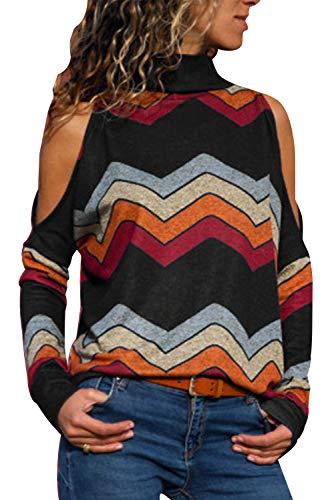 Sudadera Hombro Descubierto Mujer Bohemia Hippie Chic Camisas Estampado Etnico Camiseta Geometrica Sweatshirt Hip Hip Swag Pullover Cuello Alto Jersey Otoño Invierno Casual Baggy Jumper Top Streetwear