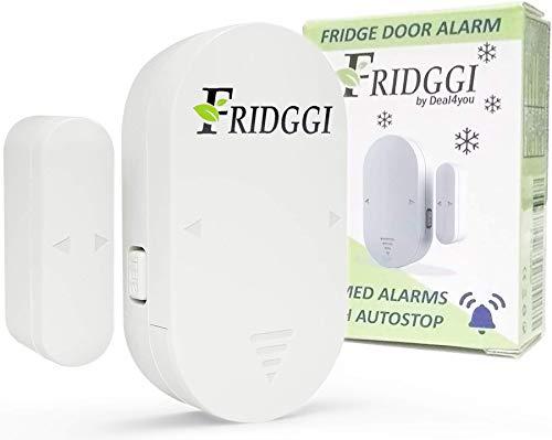 FRIDGGI - Freezer Door Alarm when Left Open, Fridge Door Alarm with Delay 80 dB to 110 dB, 60sec, 120sec, 180sec Reminders (White)