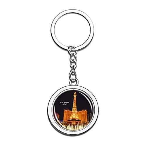 Hqiyaols Keychain USA Amerika Brunnen von Bellagio Las Vegas Kristall Drehen Rostfreier Stahl Schlüsselbund Reisen Stadt Andenken Schlüsselring