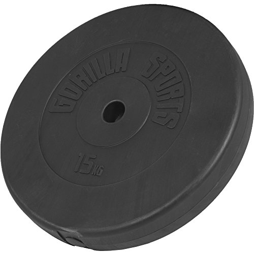 Gorilla Sports set di manubri singoli, plastica, 1,25-15 kg, pesi con foratura da 30/ 31 mm., 1,25 KG