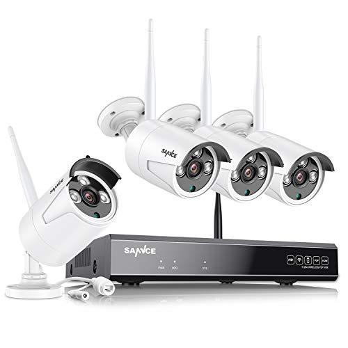 SANNCE Cámara de vigilancia HD 8 CH 1080P con Sistema CCTV con WiFi NVR WLAN IP cámara de vigilancia, Set de 4 cámaras de vigilancia 1080P, visión Nocturna de 30 m, Alarma de detección de Movimiento