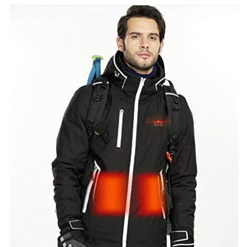 Heren Outdoor Smart verwarmingsmantel, vissen kleding, waterdicht en warm, winter warm skipak, outdoor sporters, Kerstcadeaus (Color : Black, Size : S)