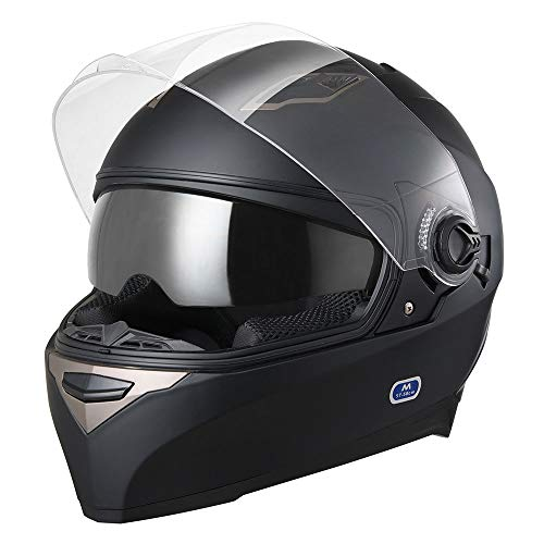 AHR Motorcycle Full Face Helmet Dual Visors Lightweight ABS Street Bike Motorbike Touring Sports DOT Approved