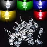 Juego de leds redondos LED superbrillantes redondos de 5 mm set diy Paquete de diodos emisores de led Rojo Verde Azul Amarillo Blanco 5 colores * 20 piezas = 100 piezas