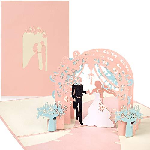 PaperCrush® Pop-Up Hochzeitskarte Brautpaar (Rosa) - Besondere 3D-Karte zur Hochzeit, Glückwunschkarte zur Trauung - Handgemachtes Hochzeitsbillet inkl. Umschlag
