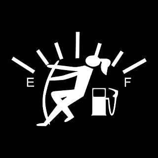 Funny Gas Guage Girl Vinyl Decal Sticker | Cars Trucks Vans SUVs Windows Walls Cups Laptops | White | 5.5 Inch | KCD2436