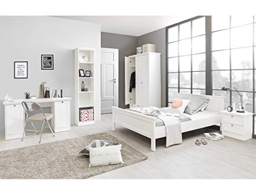 expendio Jugendzimmer Landström 172 weiß 5-teilig Bett 140x200 Schreibtisch Bücherregal Kleiderschrank Nachttisch Landhausmöbel