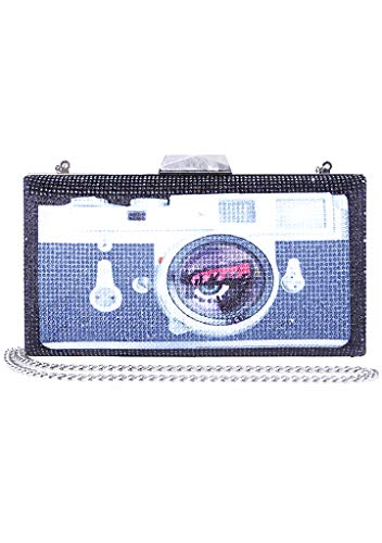 Betsey Johnson Lights Camera Action Bling Clutch, Black
