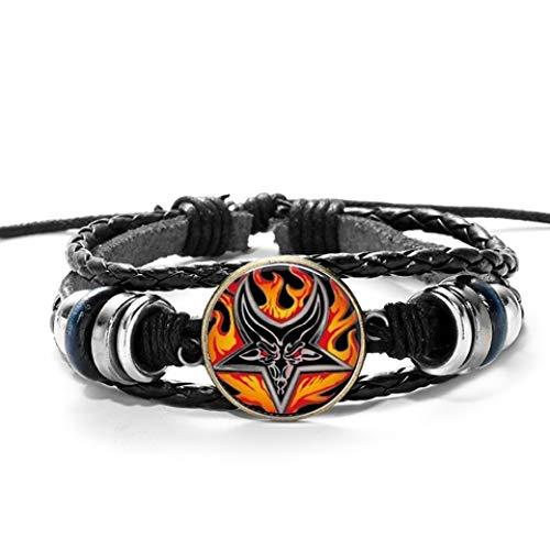 Roter Ziegenkopf Geflochtenes Armband Männer Retro Bronze Pentagramm Muster Leder Armbänder Armreif Satanismus Gothic Style