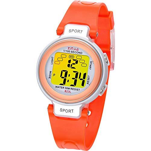 Reloj Digital para niños, 7 Colores de luz LED, Reloj de Pulsera Deportivo para niños, Resistente al Agua, Reloj Infantil con Alarma, cronómetro para niños para Actividades (Oro Rosa Naranja)
