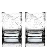 Greenline Goods Whiskey Glasses - 10 oz Tumbler Gift Set – Science of Whisky Glasses (Set of 2) Etched with Whiskey Chemistry Molecules | Old Fashioned Rocks Glass