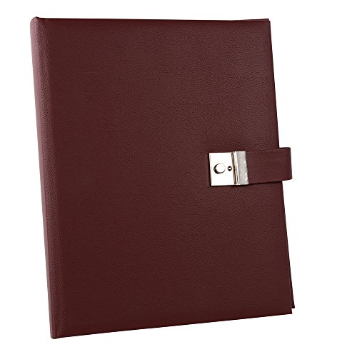 Goldbuch Dokumentenmappe, Bologna, 26 x 34 cm, Inklusive 5 Sichthüllen, Erweiterbar, Mit Schloss, Kunstleder, Dunkelrot, 53425