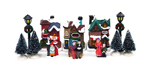 12 Piece Christmas Village Tabletop Decorations | Christmas Houses, Christmas Trees, Street Light Poles & Figurines | Perfect Centerpiece to your Christmas Indoor Decorations & Snow Village Displays