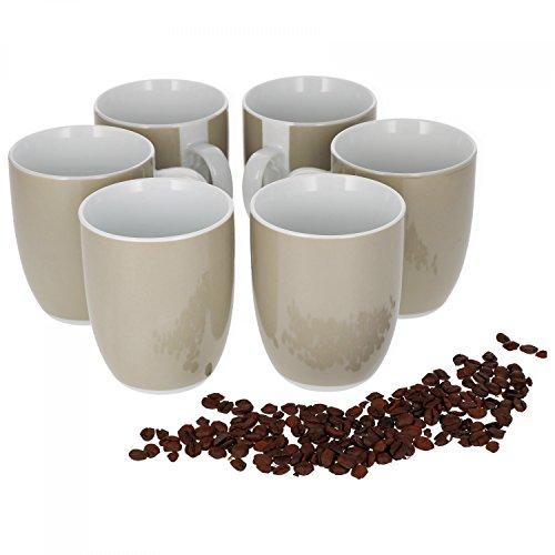 Van Well Vario 6er Kaffeetassen-Set I Porzellan-Tasse groß - in div. fröhlichen Farben I pflegeleichtes Tassen-Set - für Spülmaschine & Mikrowelle geeignet I 300 ml Kaffeebecher Beige 6 Stück
