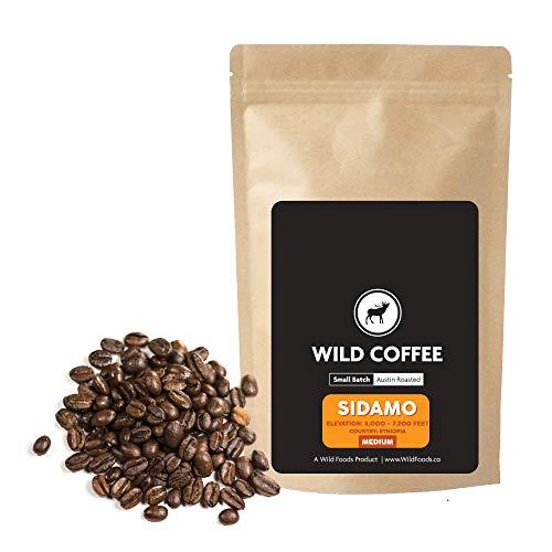 Wild Coffee, Organic Austin Roasted Small-Batch Whole Bean, 100% Arabica, Fair Trade, Single-Origin, Low Acid, Grade 1 (Sidamo Medium, 2.5 pound)