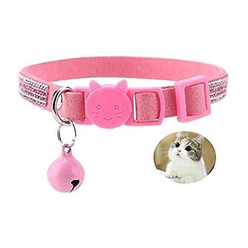Artline Collares para perros y gatos ajustables para cachorros, collar ajustable de piel sintética con brillantes de colores para mascotas y cachorros