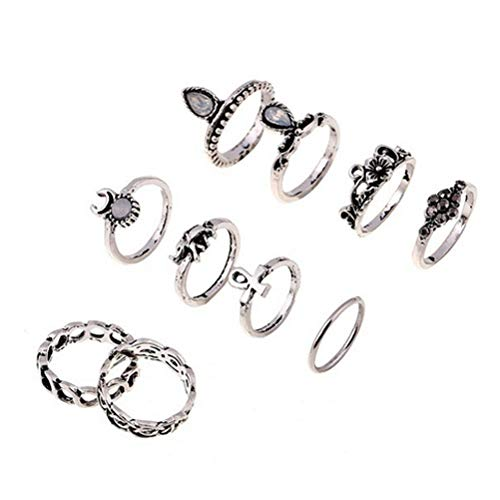 Boho Ring Set 13 Pcs Stackable Fashion Hollow Carved Flowers Joint Finger Ring for Women And Girls