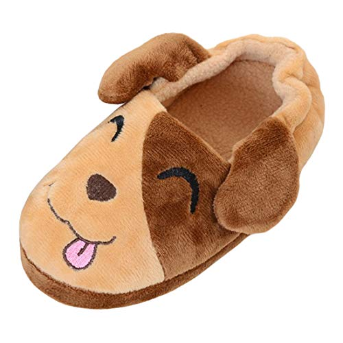 Beeliss Boys Slippers Cartoon House Shoes (7-8 M US Toddler, Brown/Puppy)