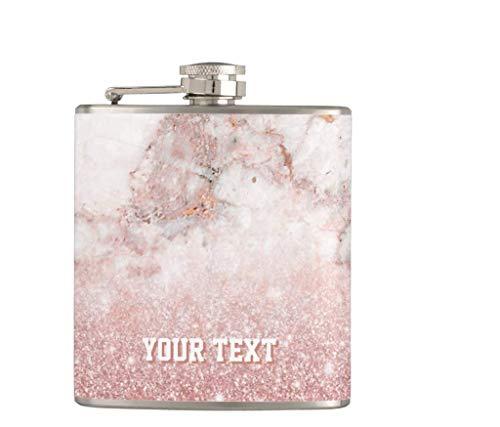 Fiaschetta per liquori e imbuto, 198,4 g a prova di perdite, in acciaio inox, fiaschetta personalizzata in finto oro rosa glitter bianco marmo, ottima idea regalo
