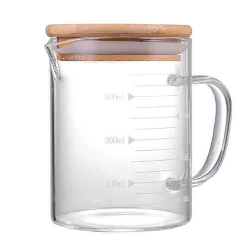 Cabilock 500Ml Glaskrug mit Deckel Milchbecher Hitzebeständig Heiß Kaltes Wasser Karaffe Wasserkrüge mit Holzdeckel Klar