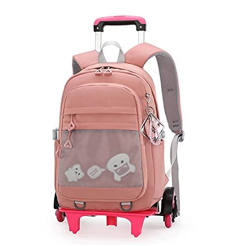 YUTCRE Mochila Trolley Escolar Niña, Mochila Escolar Trolley Bag Niños Desmontable Bandolera Maleta Multifunción Equipaje de Mano Bolsa de Viaje para Adolescentes ( Color : Pink , Size : 44*30*20cm )
