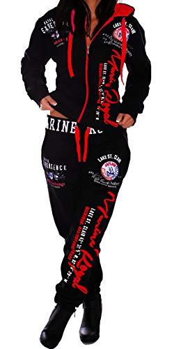 Jaylvis Damen Frauen Trainingsanzug Jogginganzug Sportanzug Streetwear Jogger A.Marine Royal (schwarz-Rot S