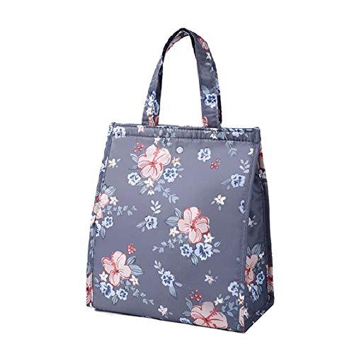 Lunch zak voor vrouwen bloemen print voedsel zak broodtrommel zak, beweegbare isolerende picknick Tote-koelapparaat druppelversturen dark grey