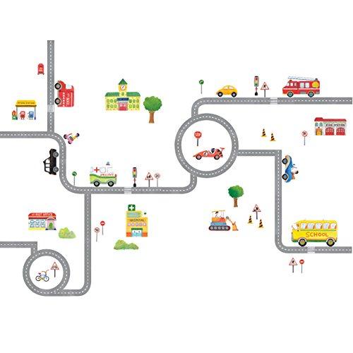 Decowall DA-1404 Straßen Transporte Autos Fahrzeuge Wandtattoo Wandsticker Wandaufkleber Wanddeko für Wohnzimmer Schlafzimmer Kinderzimmer (Groß)