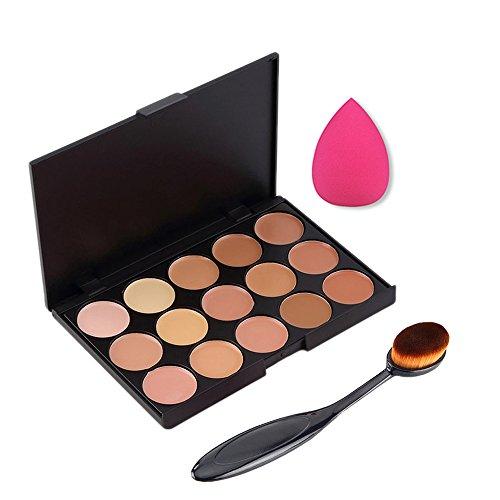 Boolavard 3pcs   set Professionale 15 colori Concealer Makeup Cream Primer + Pennello Blending Ovale + Spugna Trucco Impeccabile Strumenti Soffio