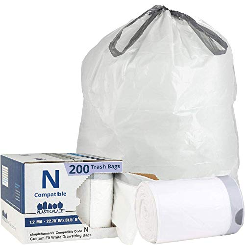 Plasticplace Custom Fit Trash Bags│Simplehuman Code N Compatible (200 Count)│White Drawstring Garbage Liners 12-13 Gallon/45-50 Liter│22.75' x 31.5'