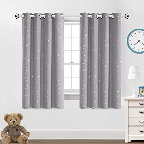 """Blackout Kids Curtains for Bedroom Thermal Insulated Silver Twinkle Star Curtains for Boys Girls Antique Grommet Top Window Treatment 2 Panels Drapes for Nursery, Soft Thick (52""""W x 63""""L, Grey)"""