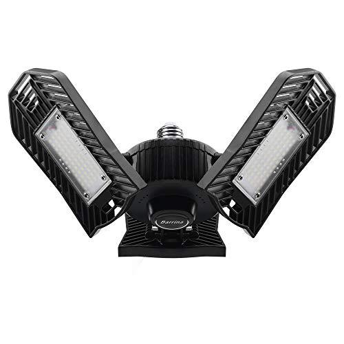 Barrina LED Garage Light 5000K, 6000LM 60W, E26 LED Bulb, Garage Lighting Fixtures Ceiling LED, 3 Adjustable Deformable Head Shop Light for Garage, Warehouse, Workshop, Black