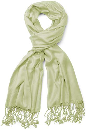 styleBREAKER styleBREAKER Stola Schal, Tuch mit Fransen in vielen verschiedenen Farben, Unisex 01012035, Farbe:Lindgrün