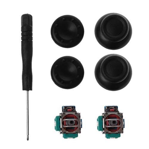 Junlinto, 3D Analoge as Module Potentiometer Zwart Joystick Duimstokken Siliconen Cover Schroevendraaier Vervangende Kits voor Playstation 4 PS4 Controller Reparatie Onderdelen