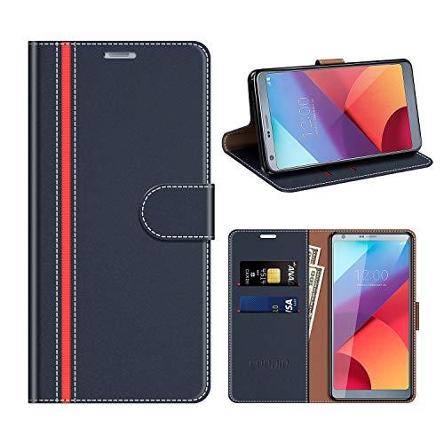 COODIO Funda Cuero LG G6, Funda LG G6, Funda Cover Rugged LG G6 Case con Magnético/Cartera/Soporte para LG G6, Azul Oscuro/Rojo