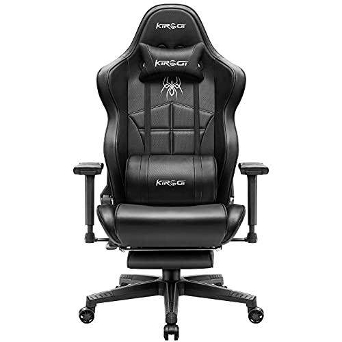 Kirogi Gaming Stuhl, Bürostuhl Ergonomisch PC Stuhl, Verstellbarer Gamer Stuhl mit Fußstütze, PC Gaming stühle für Erwachsene, großer und hoher schreibtischstuhl aus Kohlefaser Leder. Schwarz