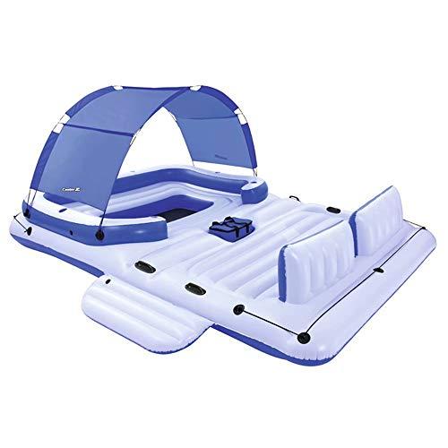 QSs- Isla Flotante Inflable, Fila Flotante de tumbonas en el Agua, Tiene Capacidad para 5-6 Personas, 、 Adecuado para la Piscina al Aire Libre de Verano Fiesta en la Playa