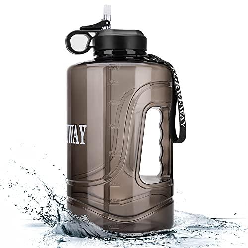 FORWEWAY Trinkflasche 3.78L, Sport Wasserflasche Groß Gallone mit Strohhalm Griff BPA Frei Auslaufsicher für Gym Fitness Outdoor Sport Büro