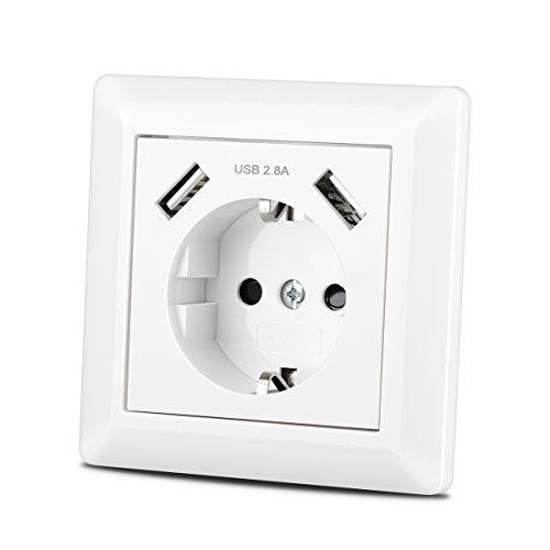 Steckdose mit USB Anschluss (Max. 2.8A) Schutzkontakt Schuko Wandsteckdose Unterputz System 55 Reinweiß Glänzend Weiß für Smartphone,Tablet etc.