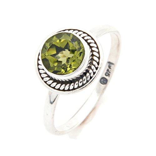 Ring Silber 925 Sterlingsilber Peridot grün Stein (Nr: MRI 114), Ringgröße:60 mm/Ø 19.1 mm