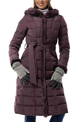Grimada B507 Damen Daunenjacke SNOWIMAGE mit Echtfellkapuze (34, Pflaume)