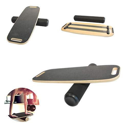 Wlehome Balance Board, Anti-Rutsch-Oberfläche Holz Trainer Professional Roller Board Für Snowboard Surf Hockey Training Athlet Kid Adult,Schwarz